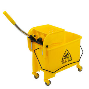 5 Gallon Mini Mop Bucket W wringer Combo Commercial Rolling Cleaning Cart Yellow