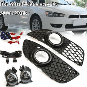 Fog Light Cover Grill Wires Switch Kit Lamp For Mitsubishi Lancer 2007 13 14 15