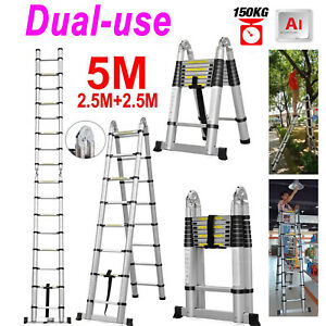 5m Thickening Aluminium Ladder Portable Household Telescopic Ladders 8 8 Steps
