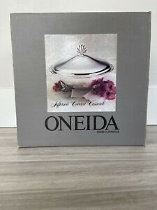 Oneida Jefferson Silver Plate Covered Casserole Bowl Made In Usa