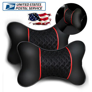 2pcs Breathable Car Seat Neck Rest Pillow Pu Leather Ice Silk Headrest Cushion