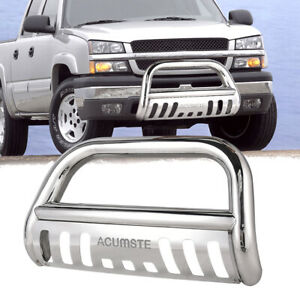 Stainless Steel Bull Bar For 2015 2018 Chevy Gmc Bumper Brush Grille Guards 6 6l