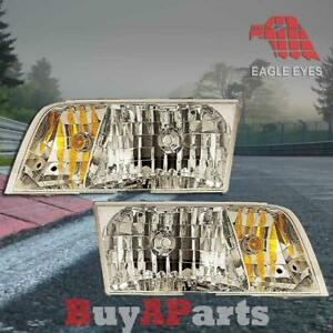 Pair Replacement Headlights For 1998 2011 Ford Crown Victoria Bulbs socket Inclu