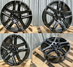 20x9 Wheels Fits Gmc Sierra Chevy Silverado Tahoe Yukon Black 20 Inch Rims Set