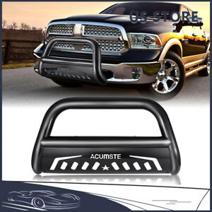 Black Stainless Front Bumper Bull Bar Grille Guard For 2009 2021 Dodge Ram 1500