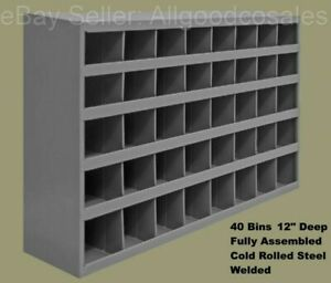 Steel Parts Bins 40 Pigeonhole Compartments 12 Deep Nuts Bolts Fittings Garage