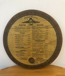 Vintage Restaurant Menu Board Wooden Sign Round Man Cave 15 X 15 Awesome