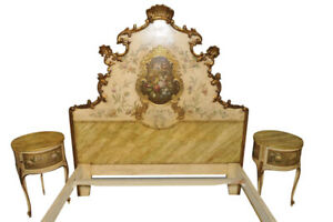 Beautiful Antique French Hand Painted Italian Baroque Bedroom Set Wonderful Flor