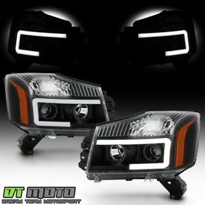 For 2014 2015 Titan 04 07 Armada Black Led Tube Projector Headlights Headlamps