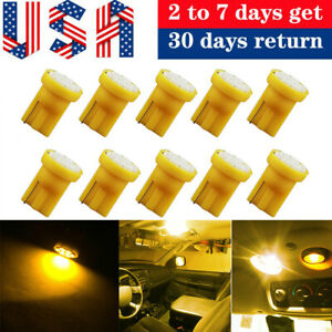 10x Amber Yellow T10 168 194 8smd Led Car Wedge Interior License Dome Light Bulb
