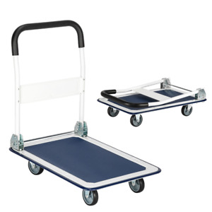 Platform Cart 330lb Dolly Folding Foldable Moving Warehouse Push Hand Truck Blue