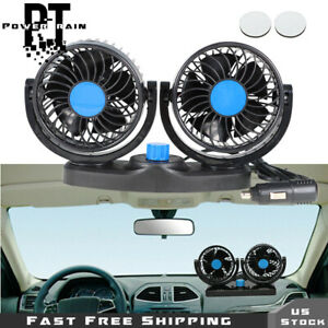 12v Dual Head Car Fan Vehicle Truck 360 Rotatable Auto Cooling Cooler Portable