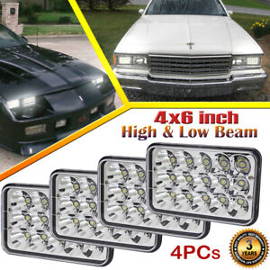 4pcs 4x6 Led Headlights Hi Lo Beam Fit Chevrolet Caprice Camaro Impala T6500