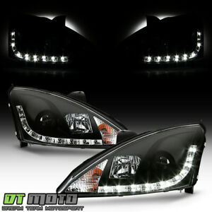 Blk 2000 2004 Ford Focus Projector Headlights W Led Daytime Running Lamps 00 04