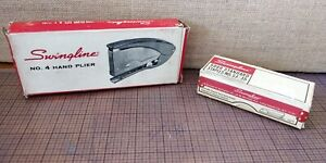 Vintage Swingline 4 Hand Plier Stapler Gray new In Box With Matching Staples