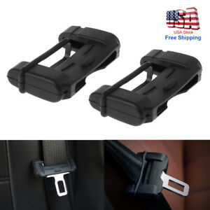 2pc Car Suv Seat Belt Buckle Clip Silicone Anti scratch Cover Safety Accessories