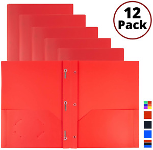 Red 3 prong Plastic Folders With Pockets 12 Pack 3 Prong Folders With Labels