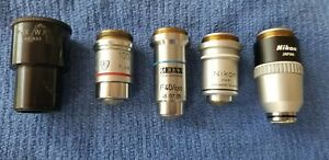 Mixed Lot Of 5 Various Size type Microscope Objectives Zeiss Ao Nikon