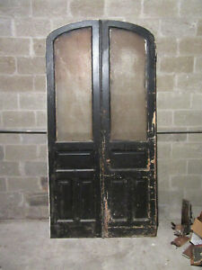 Antique Double Entrance French Doors Semi Arched Top 48 X 95 Salvage
