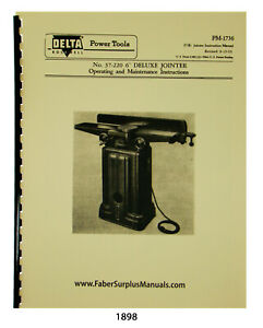 Delta 6 Deluxe Jointer Op Maint Parts List Manual 1898
