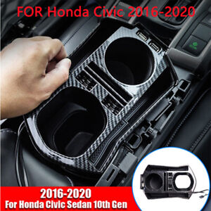 Carbon Fiber Interior Console Storage Box With Usb For Honda Civic 2016 2020 New