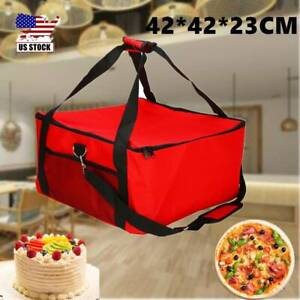 16inch Pizza Food Delivery Bag Red Oxford Cloth Aluminium Foil Insulated Thermal