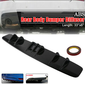 33 X6 Shark Fin Universal Rear Bumper Lip Diffuser 7 Fin Gloss Black Abs