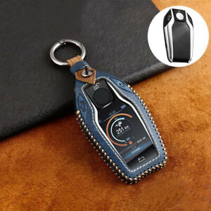 Leather Display Key Fob Cover Case Holder For Bmw 5 7 Series 740 G30 Gt X3 4 5