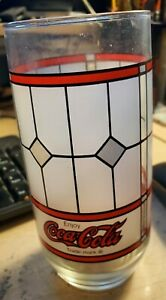 Coke Coca Cola Drinking Glass VINTAGE TIFFANY STYLE FROSTED STAINED GLASS