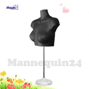 1 Female Torso Mannequin Form Black With Stand Acrylic Base
