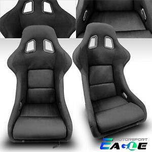 2 X Black Large Wider Fabric Sport Racing Seats Slider Left right Pair