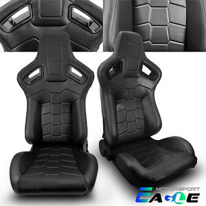 Jdm Universal Black Pvc Leather Sport Racing Seats Left Right W Slider Pair
