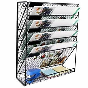 Superbpag Hanging File Organizer Metal 6 Tier Chicken Wire Wall Mount Document F