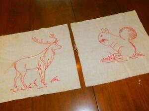 Lot Of 2 Vintage Hand Stitched Embroidered Redwork Quilt Blocks Elk Squirrel