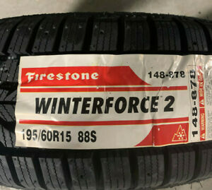2 New 195 60 15 Firestone Winterforce 2 Snow Tires
