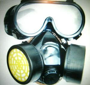 Emergency Respirator Mask Chemical Gas Mask With Goggles Dual 2 Protection