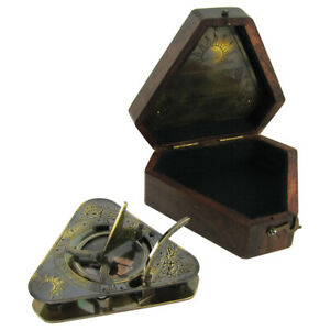 Vintage Antique Style Heavy Brass Maritime Navigational Sundial Compass W Box