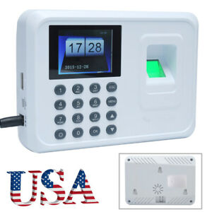 Employee Fingerprint Recorder Attendance Clock Time Card Machine 2 4 Tft X9z0