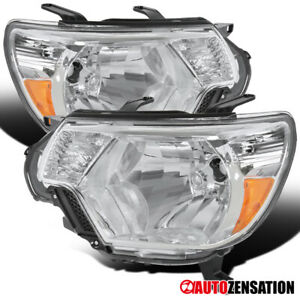 For 2012 2015 Toyota Tacoma Clear Lens Headlights Head Lamps Left Right Pair