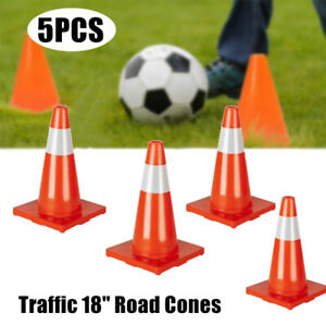 18 Traffic Cones 5pcs Slim Fluorescent Reflective Road Safety Parking Cones Us
