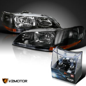 For 98 02 Honda Accord 2 4dr jdm Black Headlights 2x Halogen Light Bulbs