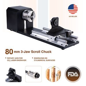 3 jaw Co2 Laser Cylinder Rotary Axis Attachment For Laser Engraving Cutting
