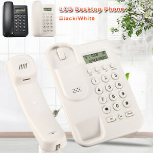 New Desktop Landline Phone Home Office Wall Mounted Phone Corded Lcd Desktop