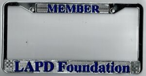 Rare Los Angeles California Police Lapd Foundation License Plate Frame