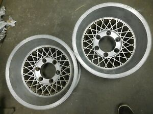 Pair Of 15 X 8 5 Appliance Crosswire Wire Mag E T Wheels Chevy Van Toyota Datsun