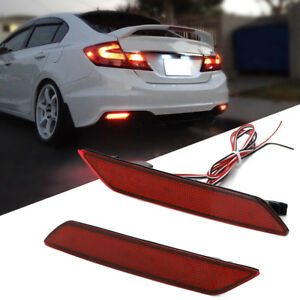Red Lens 60 Smd Led Bumper Reflector Marker Light For 13 15 Honda Civic Sedan Us