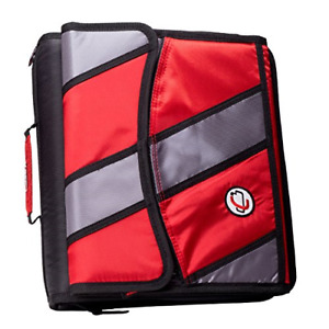 Case it Sidekick 2 inch O ring Zipper Binder With Removable Tab File Red