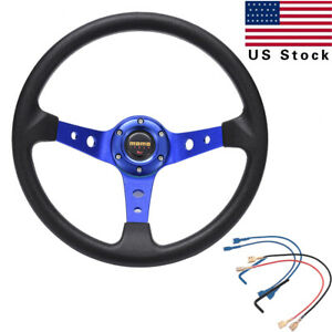 Aluminum Racing Steering Wheel Pvc Sports Drifting Wheel Shiny Black Blue