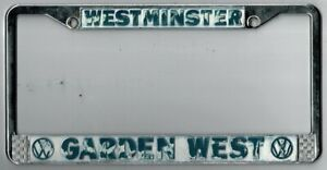Westminster California Gardenwest Volkswagen Vintage Dealer License Plate Frame