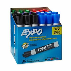 Expo Low Odor Dry Erase Markers Chisel Tip Assorted 36 Count pack Of 1